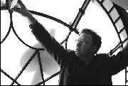 Author Garth Nix photographed in GPO clock Martin Place Sydney - 2002