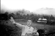 US Anti-nuclear activist and Vietnam War veteran Col. David Hackworth (1939 - 2005) on his farm at Uki Australia c.1986