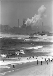 Wollongong Beach and Port Kembla steel mill - c.1966
